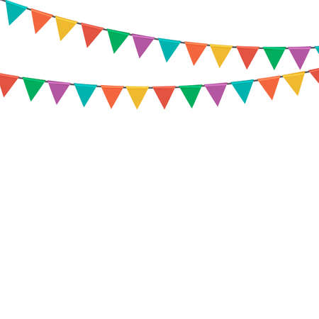 Triangle party flag garland isolated on white background. Vector Illustration EPS10
