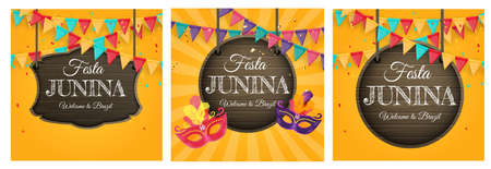 Festa Junina Background set with Party Flags. Brazil June Festival Background for Greeting Card, Invitation on Holiday. Vector Illustration EPS10