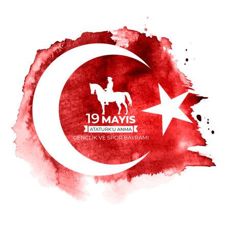 19th may commemoration of Ataturk, youth and sports day (Turkish Speak: 19 mayis Ataturk'u anma, genclik ve spor bayrami). Turkish holiday greeting card. Vector Illustration