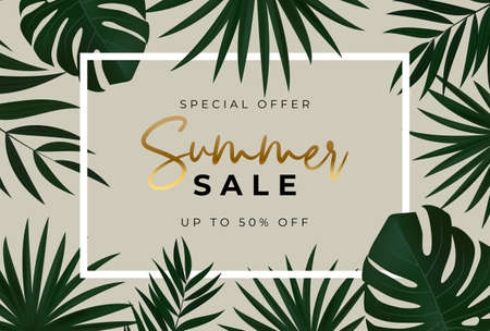 Summer sale poster. Natural Background with Tropical Palm Leaves. Vector Illustration Vector Illustration