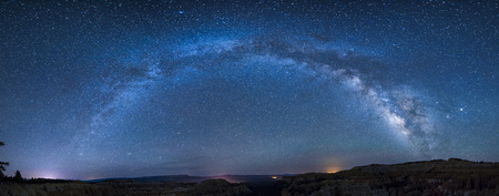 Panoramic milky way over bryce canyon Stock Photo