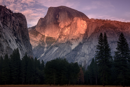 Half dome on fire at sunset