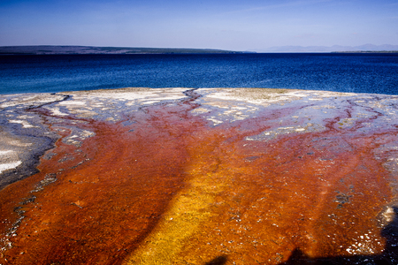 Black pool runoff in Yellowstone Lake 스톡 콘텐츠