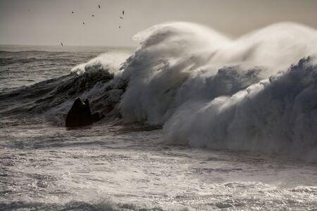 Wall of water overfish over icelandic coast