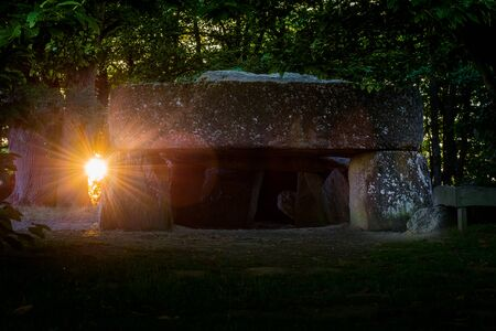 The Roche aux fes megalithic site in brittany at solstice suns