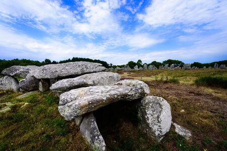 Dolmen and menhir near Carnac in Brittany Stock Photo