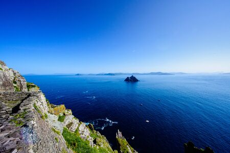 View of a little skellig and Kerry peninsula