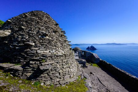 Old house build by Monks at Skellig Micheal Stock Photo