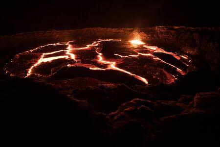 Erta Ale lava lake at night Foto de archivo