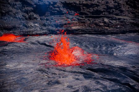 Chorros de lava del lago Erta Ale Foto de archivo