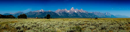 Panoramic view of the Grand Teton range