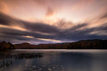 Sunset over Putnam pond Stock Photo