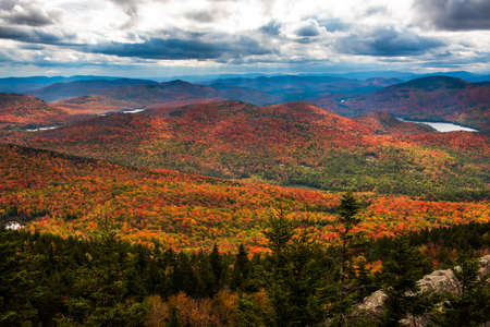 Adirondack forest at fall view from Crane mountain Stock Photo