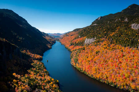Lower Ausable lake at fall seen from Indian head