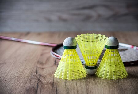 badminton racket with yellow balls Stock Photo