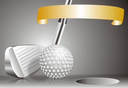 golf ball with golf club with chart of winners Standard-Bild