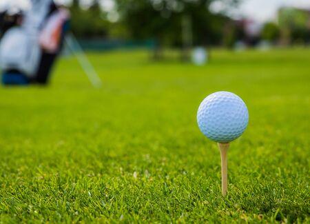 golf ball on golf green grass natural fairway