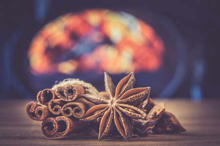 cinnamon badian spice on the table