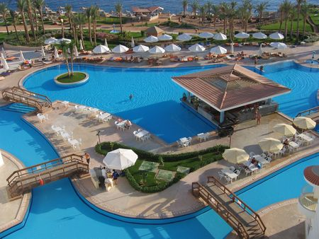 Pool in hotel on coast of Red sea