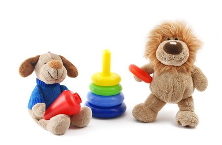 Childrens toys on a white background it is isolated