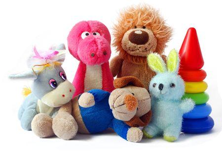 juguetes: Los juguetes de los ni�os sobre un fondo blanco que se a�sla