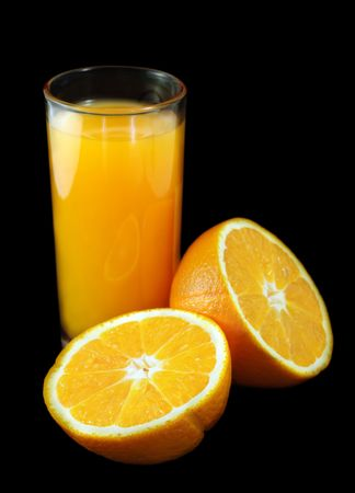 Perfect juicy oranges and glass with juice. Stock Photo