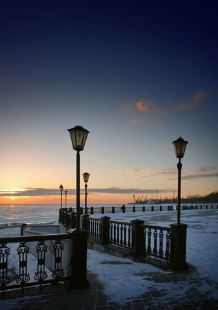 Winter view on seaport from embankment in Taganrog. Stock Photo - 4676365