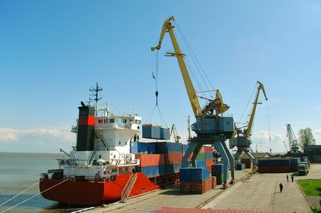 Container ship unloading cargo at the Port of Taganrog, Russia