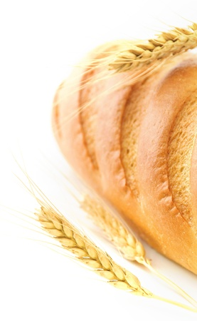 Bread and wheat isolated on white