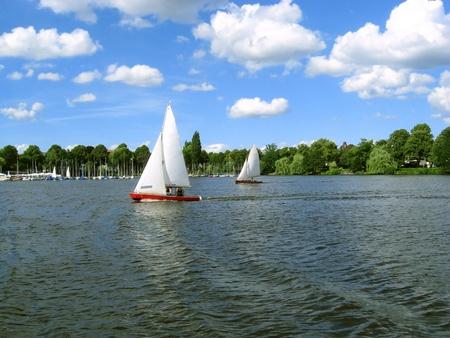 Sailboats  in the harbor of Hamburg Stock Photo - 9103052