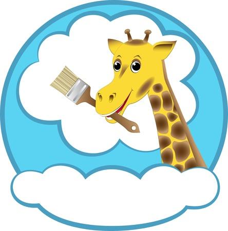Giraffe with brush - vector illustration. Vector