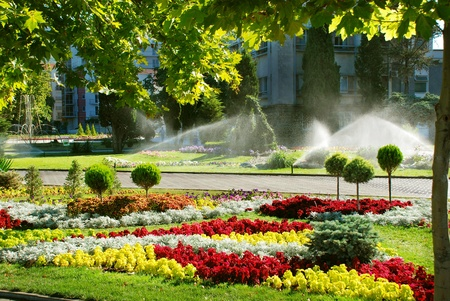 City square  Sprinkler system is watering the lawn