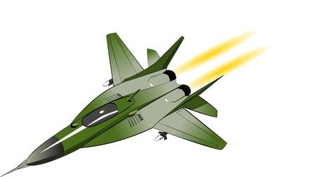 avion de chasse: Chasseur-bombardier isolé sur blanc Illustration