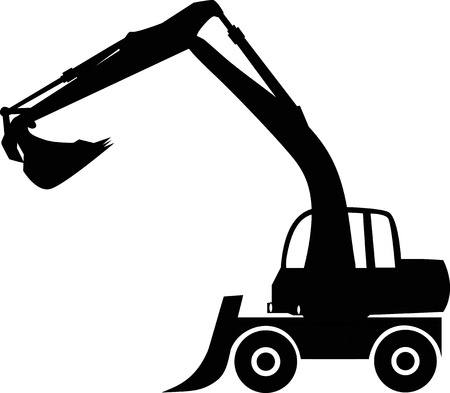 digging: Silhouette big excavator, illustration Illustration