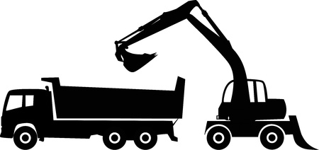 construction equipment: Silhouette excavator and dump truck, illustration