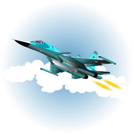 Fighter bomber in the sky  Vector illustration Stock Vector - 16251902