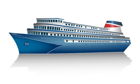 ocean liner: Cruise ship on white background  Isolated  Illustration