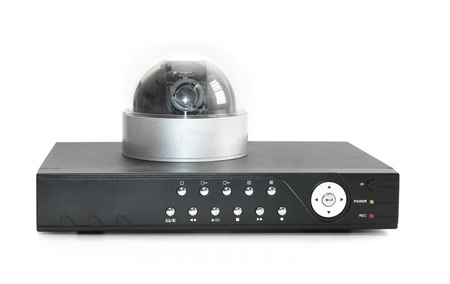 DVR recorder and security camera Фото со стока