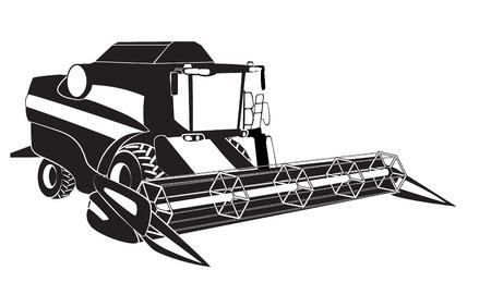 Cosechadora de cereales combinan ilustración vectorial
