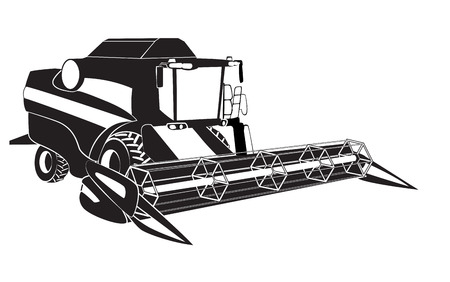 harvester: Grain harvester combine  Vector illustration