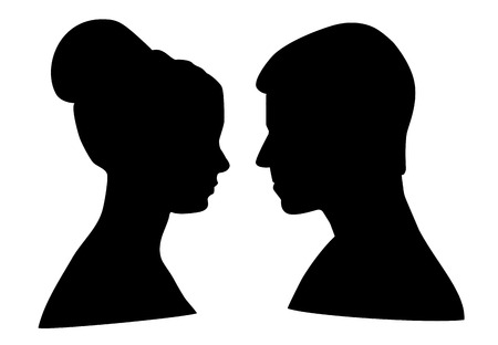 interpersonal: Silhouette of man and woman on white background