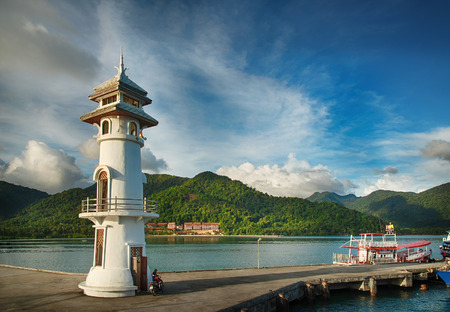 Lighthouse at the sea pier on Ko Chang island, Thailand