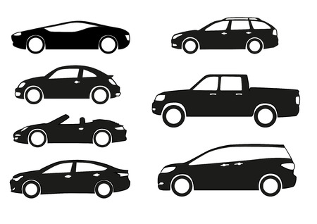 Silhouette cars on a white background. Vettoriali