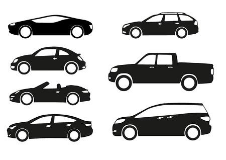silhueta: Carros da silhueta em um fundo branco.
