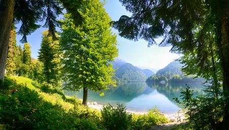 abkhazia: Ritza Lake in Abkhazia. Stock Photo