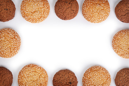 Cookies frame on white background.