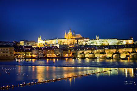 st charles: Castle and the St. Charles Bridge in downtown Prague, Czech Republic.