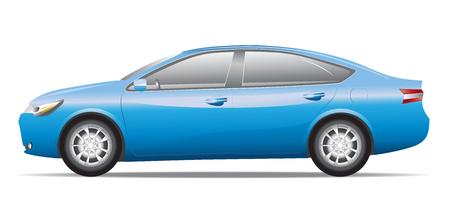 motor vehicle: Blue sedan car isolated on white background. Illustration