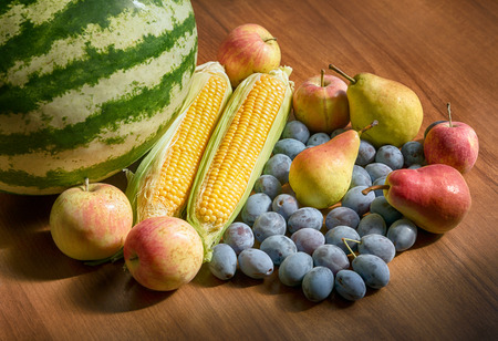 Fresh fruit and vegetable on a table