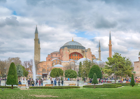 Hagia Sophia in Istanbul. The world famous monument of Byzantine architecture. Isanbul, Turkey, 7 December 2018